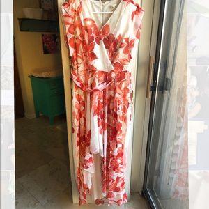 Eliza J Floral High Low Belted Dress
